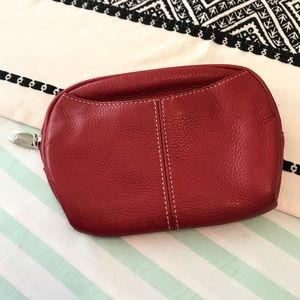 Tignanello Red Pebbled Leather Zip Pouch
